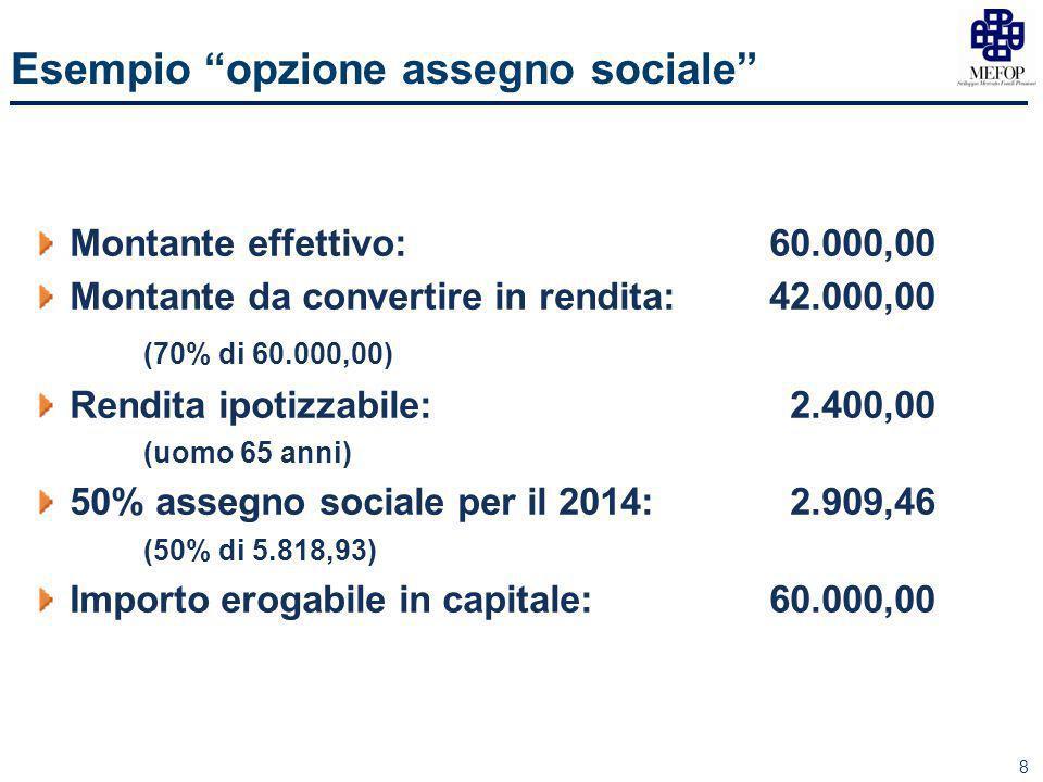8 Esempio opzione assegno sociale Montante effettivo:60.000,00 Montante da convertire in rendita:42.000,00 (70% di 60.000,00) Rendita ipotizzabile: 2.400,00 (uomo 65 anni) 50% assegno sociale per il 2014: 2.909,46 (50% di 5.818,93) Importo erogabile in capitale:60.000,00