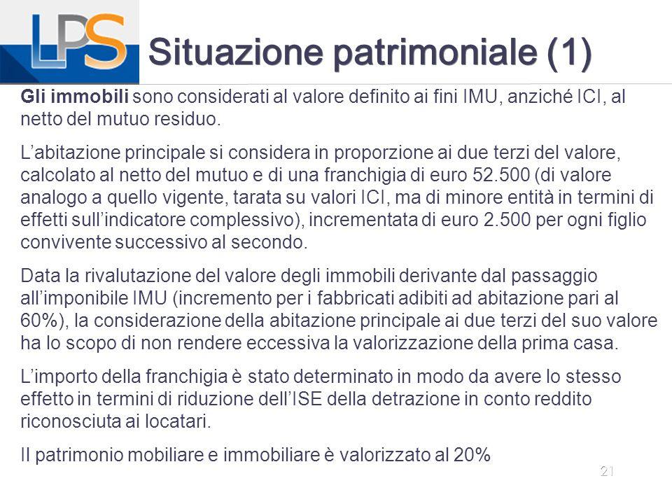 21 Situazione patrimoniale (1) Gli immobili sono considerati al valore definito ai fini IMU, anziché ICI, al netto del mutuo residuo. L'abitazione pri