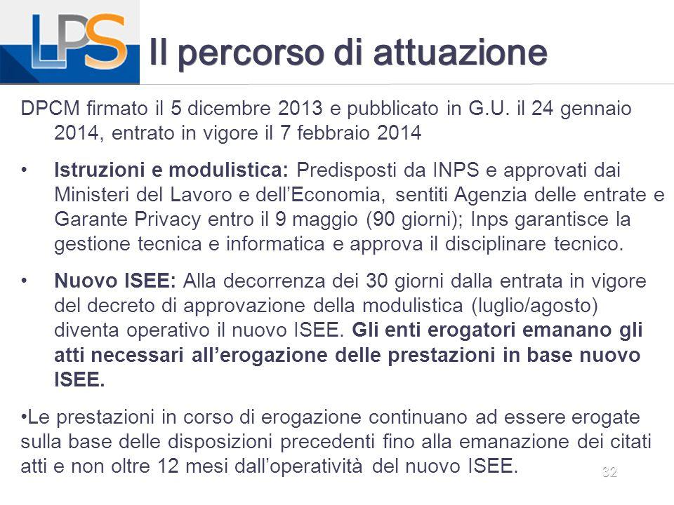 32 Il percorso di attuazione DPCM firmato il 5 dicembre 2013 e pubblicato in G.U. il 24 gennaio 2014, entrato in vigore il 7 febbraio 2014 Istruzioni