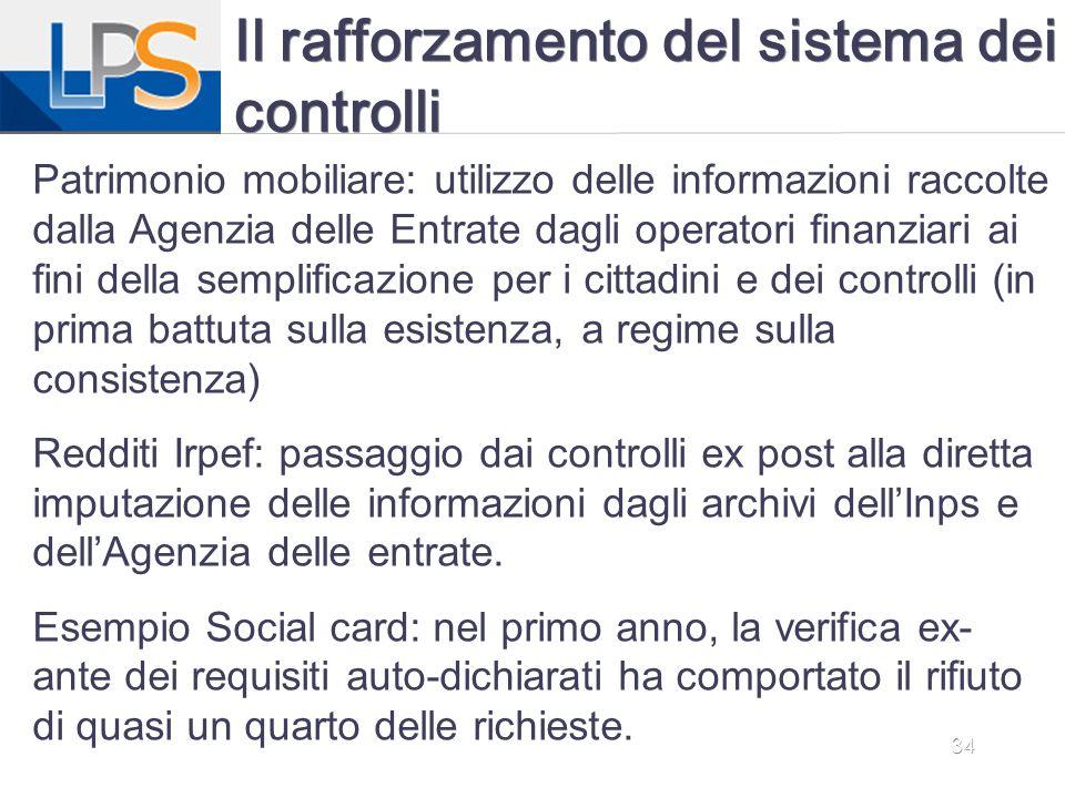 34 Il rafforzamento del sistema dei controlli Patrimonio mobiliare: utilizzo delle informazioni raccolte dalla Agenzia delle Entrate dagli operatori f