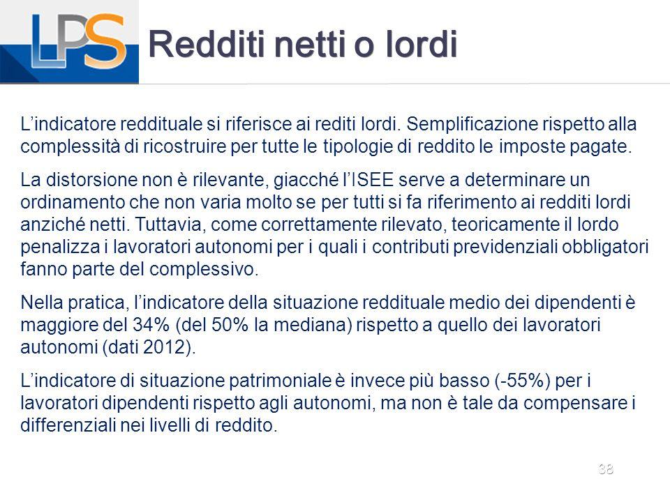 38 Redditi netti o lordi L'indicatore reddituale si riferisce ai rediti lordi. Semplificazione rispetto alla complessità di ricostruire per tutte le t
