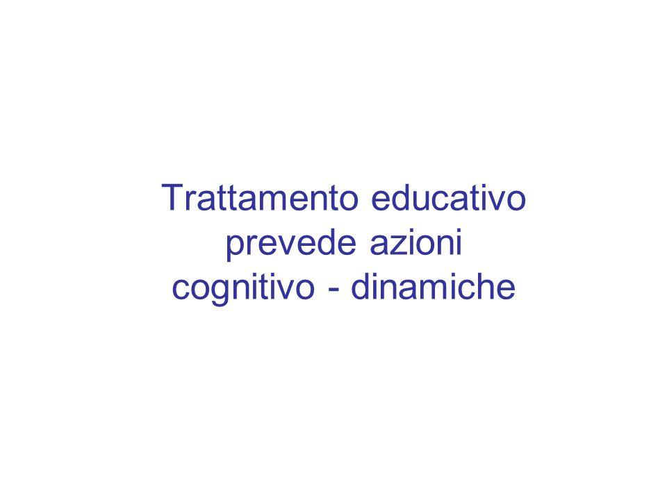 Trattamento educativo prevede azioni cognitivo - dinamiche