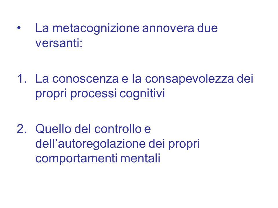 La metacognizione annovera due versanti: 1.La conoscenza e la consapevolezza dei propri processi cognitivi 2.Quello del controllo e dell'autoregolazione dei propri comportamenti mentali