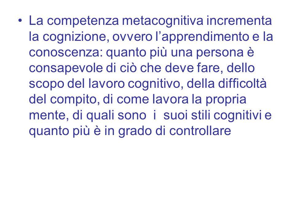 La competenza metacognitiva incrementa la cognizione, ovvero l'apprendimento e la conoscenza: quanto più una persona è consapevole di ciò che deve far