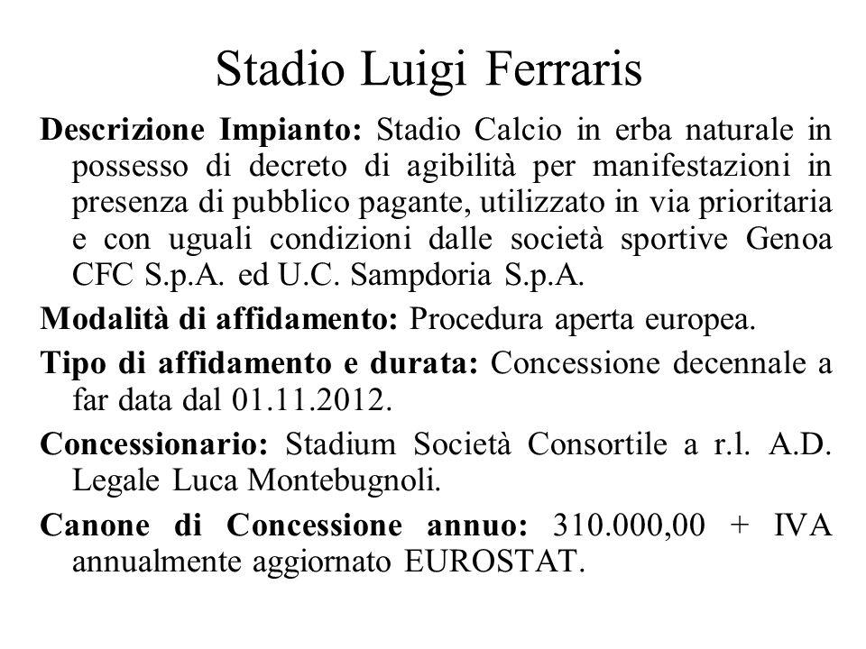 Stadio Luigi Ferraris Descrizione Impianto: Stadio Calcio in erba naturale in possesso di decreto di agibilità per manifestazioni in presenza di pubblico pagante, utilizzato in via prioritaria e con uguali condizioni dalle società sportive Genoa CFC S.p.A.