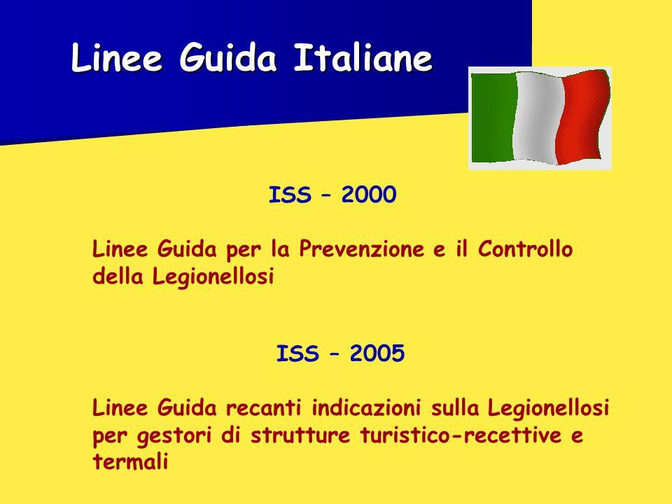 Linee Guida Italiane ISS – 2000 Linee Guida per la Prevenzione e il Controllo della Legionellosi ISS – 2005 Linee Guida recanti indicazioni sulla Legionellosi per gestori di strutture turistico-recettive e termali