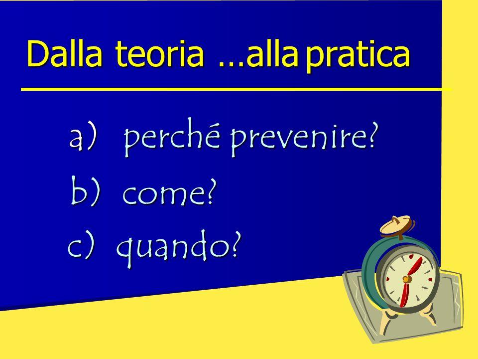 a)perché prevenire? Dalla teoria …allapratica Dalla teoria …alla pratica b) come? c) quando?
