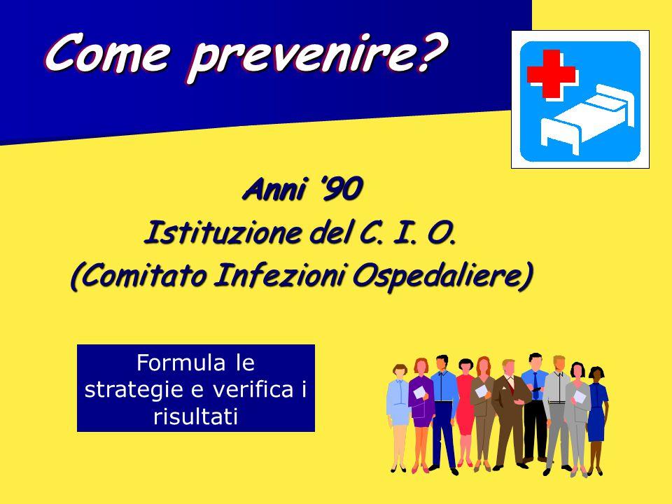 Anni '90 Istituzione del C. I. O. (Comitato Infezioni Ospedaliere) Come prevenire? Formula le strategie e verifica i risultati