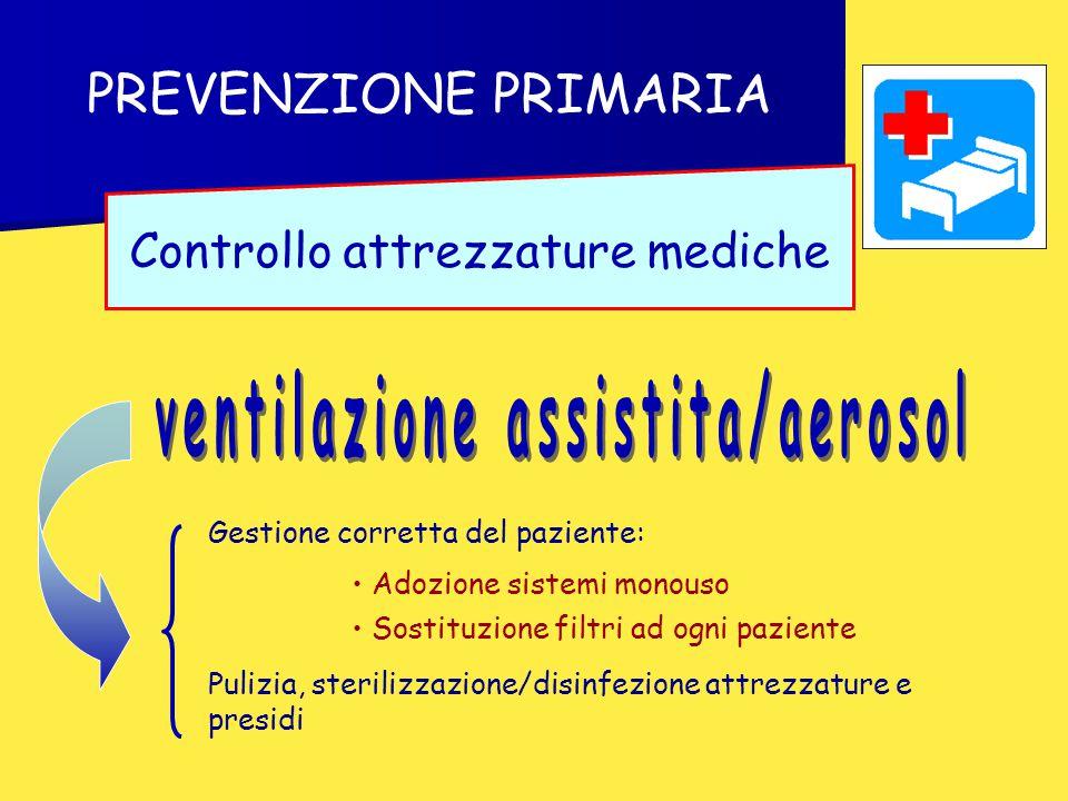 PREVENZIONE PRIMARIA Controllo attrezzature mediche Adozione sistemi monouso Sostituzione filtri ad ogni paziente Gestione corretta del paziente: Pulizia, sterilizzazione/disinfezione attrezzature e presidi