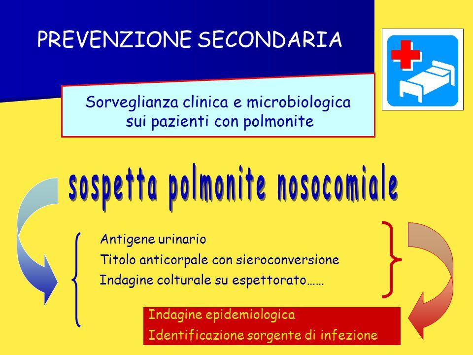 PREVENZIONE SECONDARIA Sorveglianza clinica e microbiologica sui pazienti con polmonite Antigene urinario Titolo anticorpale con sieroconversione Inda