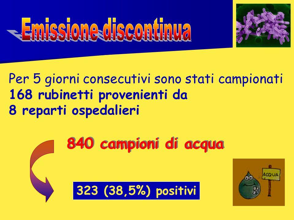 323 (38,5%) positivi 840 campioni di acqua Per 5 giorni consecutivi sono stati campionati 168 rubinetti provenienti da 8 reparti ospedalieri