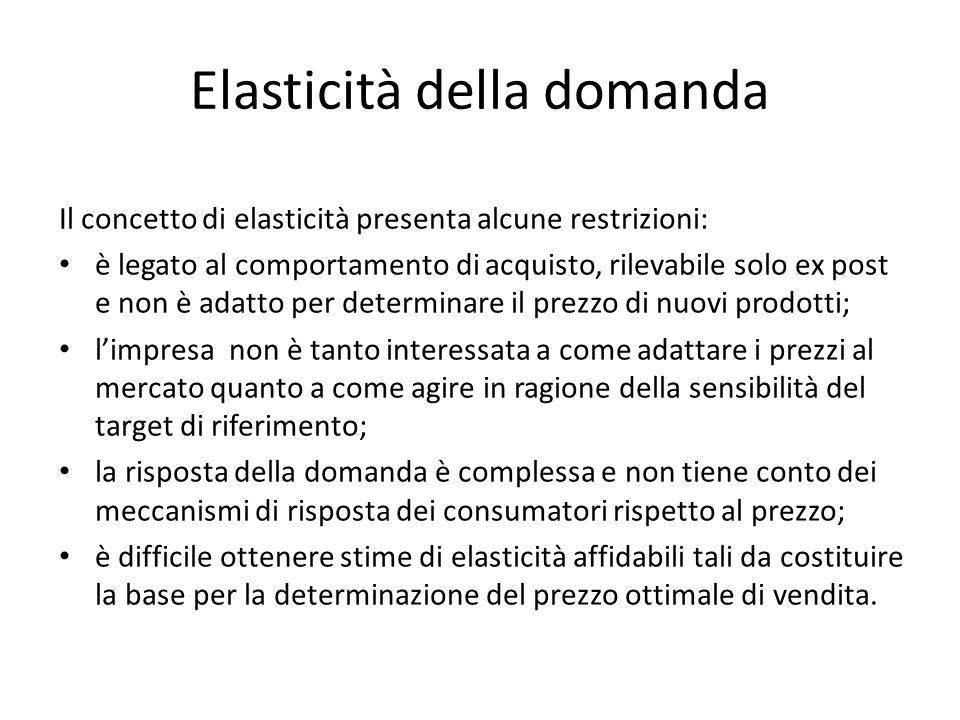 Elasticità della domanda Il concetto di elasticità presenta alcune restrizioni: è legato al comportamento di acquisto, rilevabile solo ex post e non è