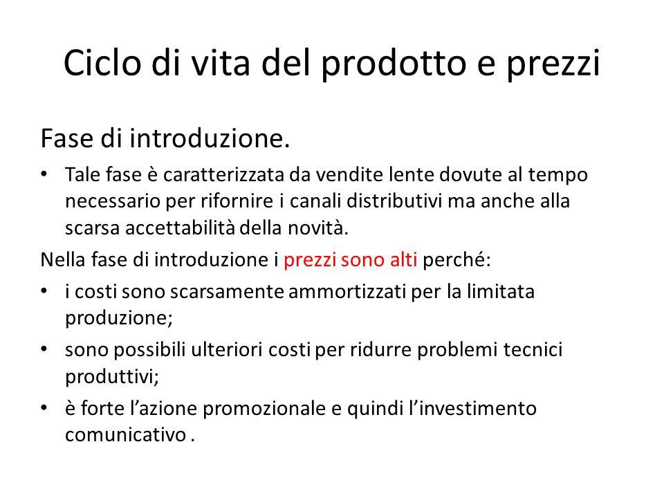 Ciclo di vita del prodotto e prezzi Fase di introduzione. Tale fase è caratterizzata da vendite lente dovute al tempo necessario per rifornire i canal