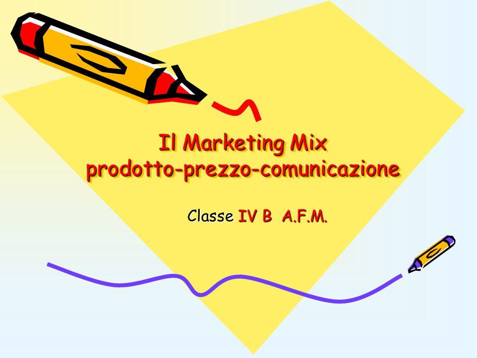 Il Marketing Mix prodotto-prezzo-comunicazione Classe IV B A.F.M.