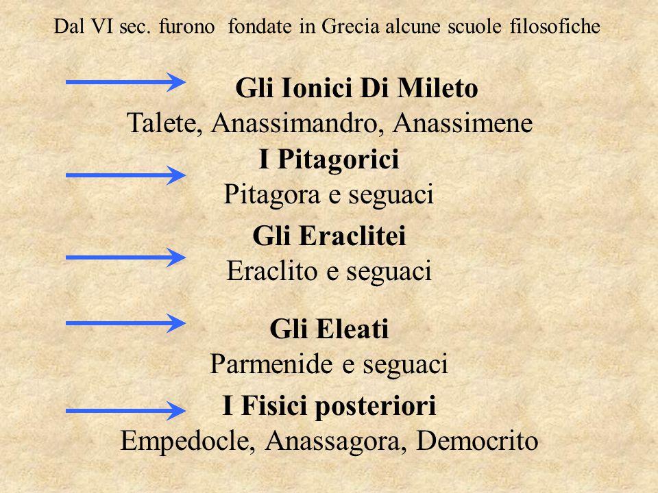 Dal VI sec. furono fondate in Grecia alcune scuole filosofiche Gli Ionici Di Mileto Talete, Anassimandro, Anassimene I Pitagorici Pitagora e seguaci G