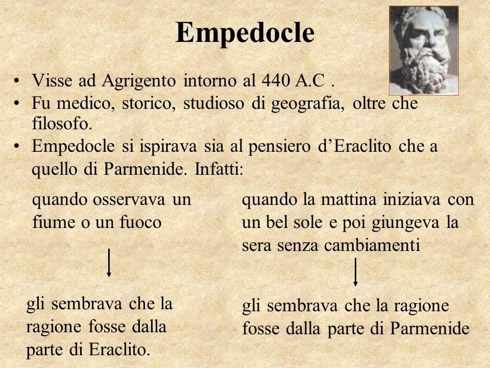 Empedocle Visse ad Agrigento intorno al 440 A.C. Fu medico, storico, studioso di geografia, oltre che filosofo. Empedocle si ispirava sia al pensiero