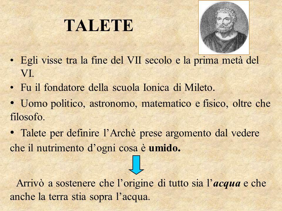 TALETE Fu il fondatore della scuola Ionica di Mileto. Egli visse tra la fine del VII secolo e la prima metà del VI. Uomo politico, astronomo, matemati