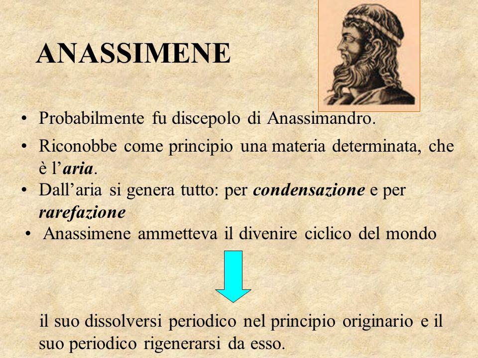 ANASSIMENE Probabilmente fu discepolo di Anassimandro. Riconobbe come principio una materia determinata, che è l'aria. Dall'aria si genera tutto: per