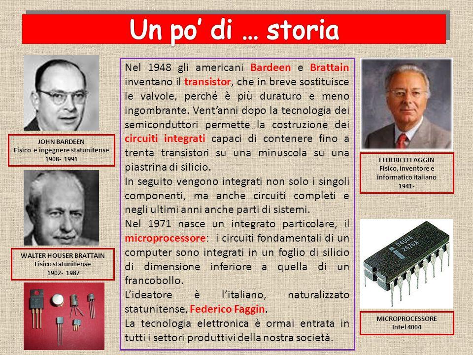 Nel 1948 gli americani Bardeen e Brattain inventano il transistor, che in breve sostituisce le valvole, perché è più duraturo e meno ingombrante. Vent