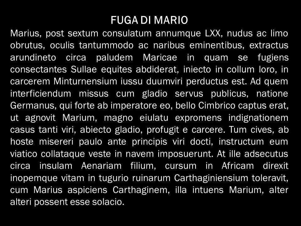 FUGA DI MARIO Marius, post sextum consulatum annumque LXX, nudus ac limo obrutus, oculis tantummodo ac naribus eminentibus, extractus arundineto circa