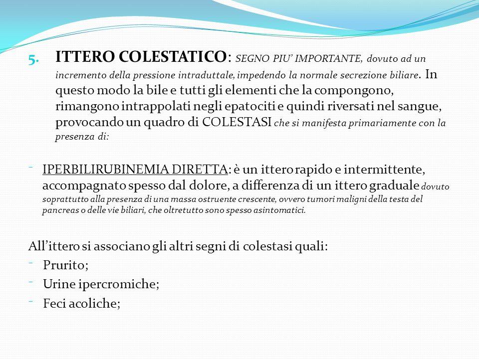 5. ITTERO COLESTATICO: SEGNO PIU' IMPORTANTE, dovuto ad un incremento della pressione intraduttale, impedendo la normale secrezione biliare. In questo