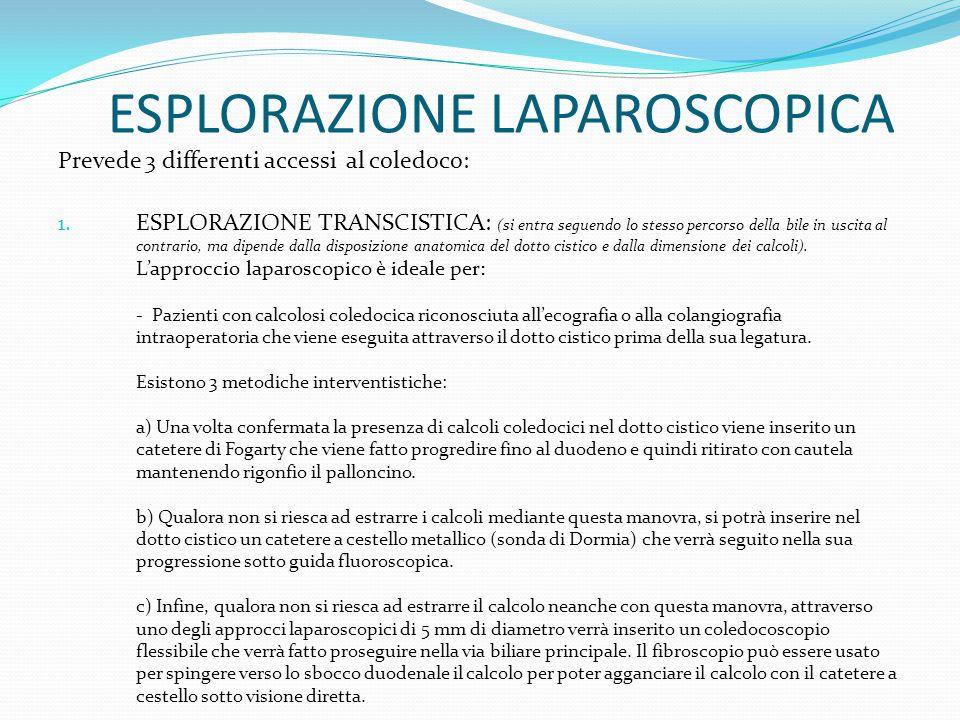 ESPLORAZIONE LAPAROSCOPICA Prevede 3 differenti accessi al coledoco: 1. ESPLORAZIONE TRANSCISTICA: (si entra seguendo lo stesso percorso della bile in