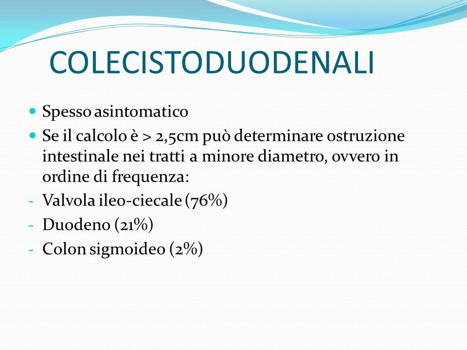 COLECISTODUODENALI Spesso asintomatico Se il calcolo è > 2,5cm può determinare ostruzione intestinale nei tratti a minore diametro, ovvero in ordine d
