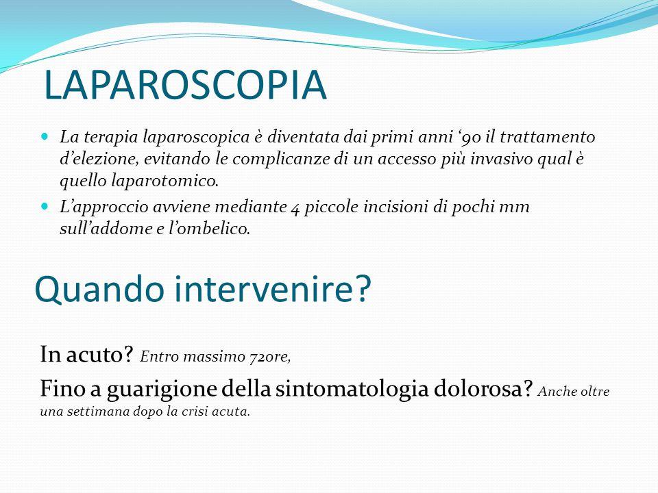 LAPAROSCOPIA La terapia laparoscopica è diventata dai primi anni '90 il trattamento d'elezione, evitando le complicanze di un accesso più invasivo qua