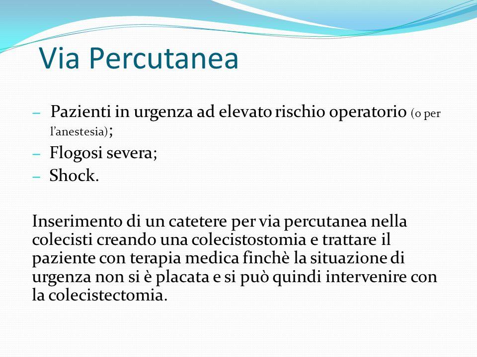 − Pazienti in urgenza ad elevato rischio operatorio (o per l'anestesia) ; − Flogosi severa; − Shock. Inserimento di un catetere per via percutanea nel