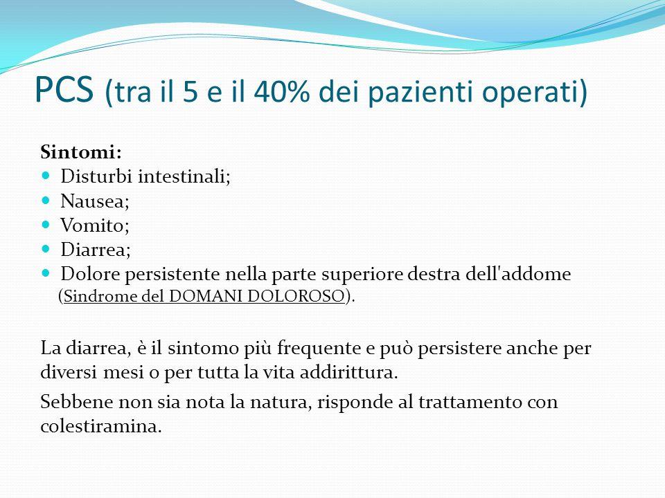 PCS (tra il 5 e il 40% dei pazienti operati) Sintomi: Disturbi intestinali; Nausea; Vomito; Diarrea; Dolore persistente nella parte superiore destra d