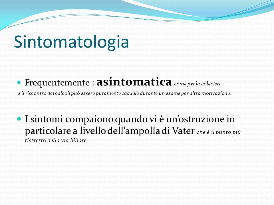 Sintomatologia Frequentemente : asintomatica come per la colecisti e il riscontro dei calcoli può essere puramente casuale durante un esame per altra