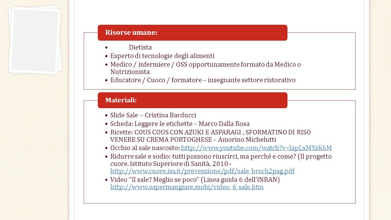 Dietista Esperto di tecnologie degli alimenti Medico / infermiere / OSS opportunamente formato da Medico o Nutrizionista Educatore / Cuoco / formatore