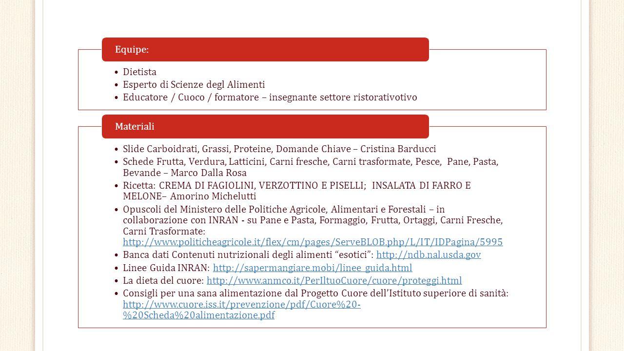 Dietista Esperto di Scienze degl Alimenti Educatore / Cuoco / formatore – insegnante settore ristorativotivo Equipe: Slide Carboidrati, Grassi, Protei