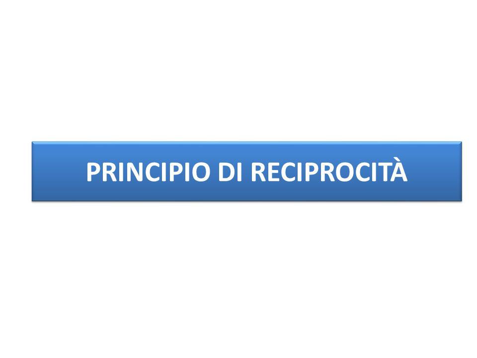 PRINCIPIO DI RECIPROCITÀ