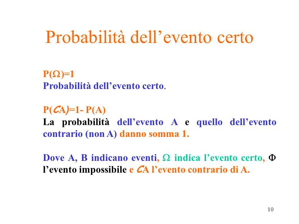 10 Probabilità dell'evento certo P(  )=1 Probabilità dell'evento certo. P( C A ) =1- P(A) La probabilità dell'evento A e quello dell'evento contrario