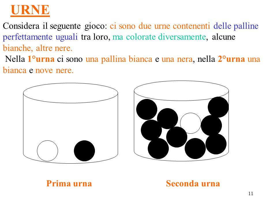 11 URNE Considera il seguente gioco: ci sono due urne contenenti delle palline perfettamente uguali tra loro, ma colorate diversamente, alcune bianche