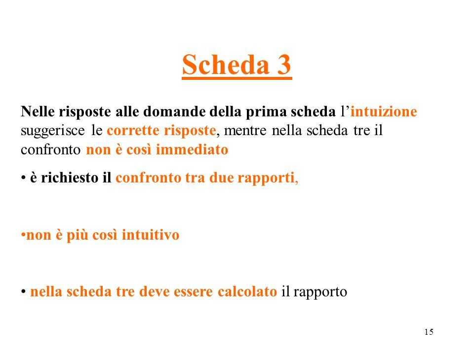 15 Scheda 3 Nelle risposte alle domande della prima scheda l'intuizione suggerisce le corrette risposte, mentre nella scheda tre il confronto non è co
