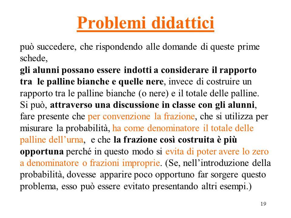 19 Problemi didattici può succedere, che rispondendo alle domande di queste prime schede, gli alunni possano essere indotti a considerare il rapporto