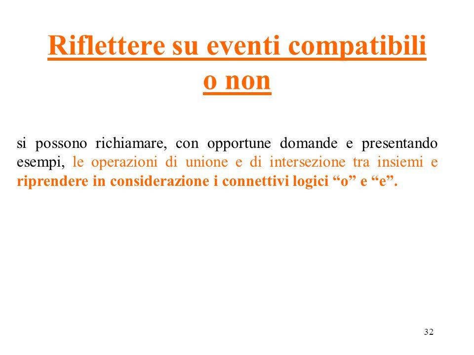 32 Riflettere su eventi compatibili o non si possono richiamare, con opportune domande e presentando esempi, le operazioni di unione e di intersezione