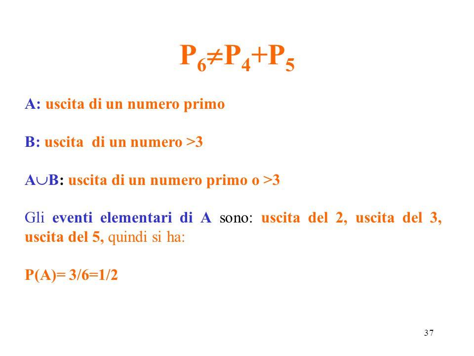 37 P 6  P 4 +P 5 A: uscita di un numero primo B: uscita di un numero >3 A  B: uscita di un numero primo o >3 Gli eventi elementari di A sono: uscita