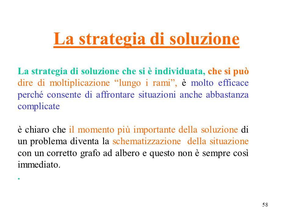 """58 La strategia di soluzione La strategia di soluzione che si è individuata, che si può dire di moltiplicazione """"lungo i rami"""", è molto efficace perch"""