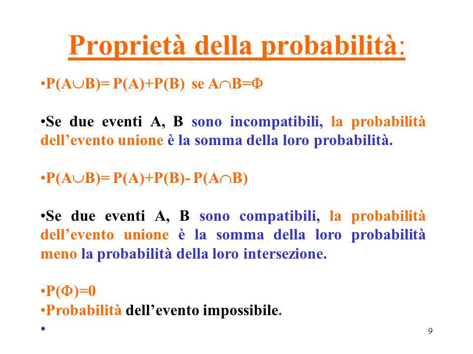 9 Proprietà della probabilità: P(A  B)= P(A)+P(B) se A  B=  Se due eventi A, B sono incompatibili, la probabilità dell'evento unione è la somma del