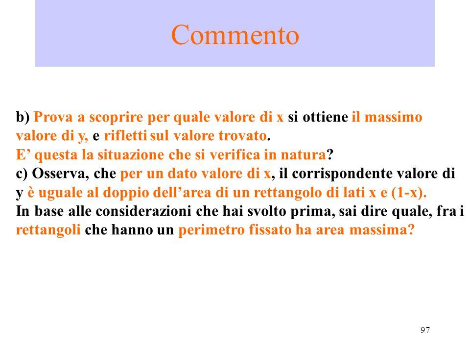 97 Commento b) Prova a scoprire per quale valore di x si ottiene il massimo valore di y, e rifletti sul valore trovato. E' questa la situazione che si