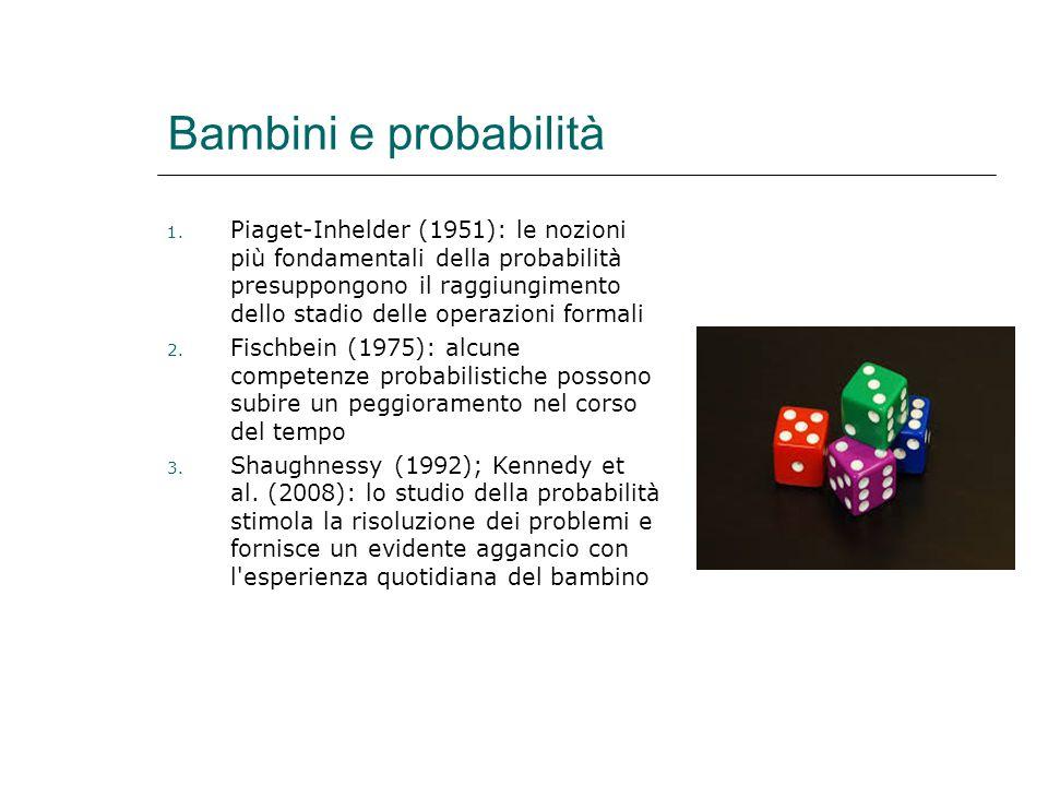 Bambini e probabilità 1. Piaget-Inhelder (1951): le nozioni più fondamentali della probabilità presuppongono il raggiungimento dello stadio delle oper