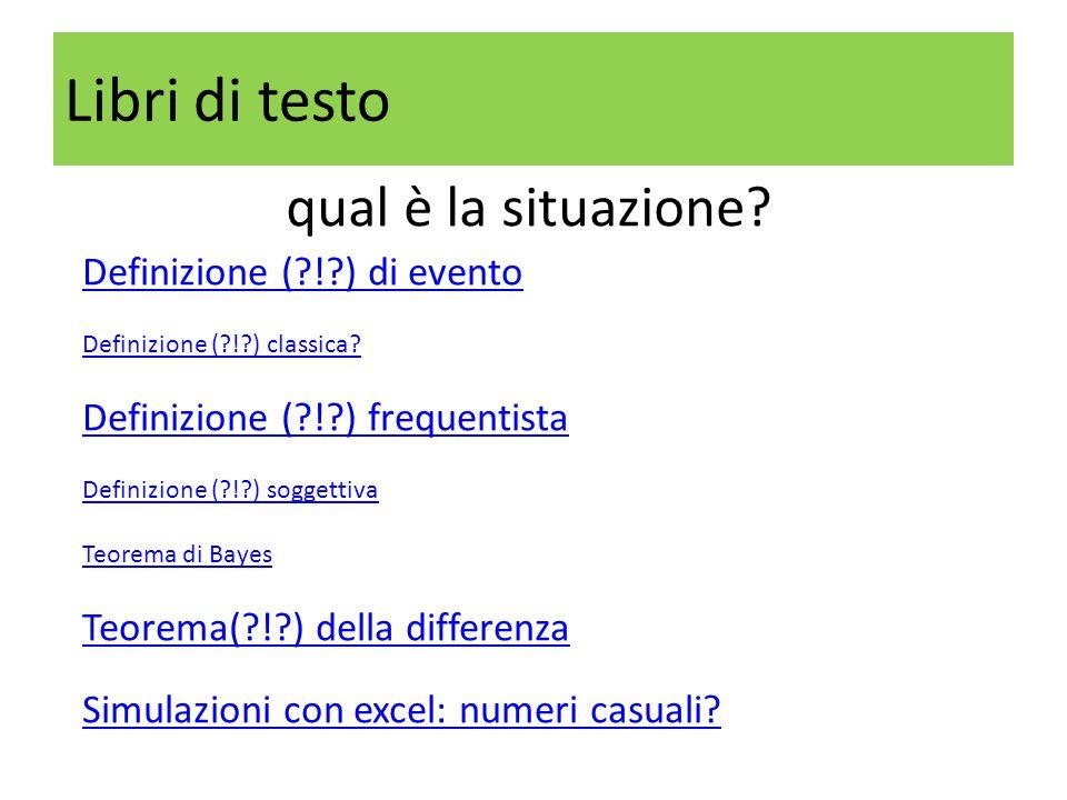 Libri di testo qual è la situazione? Definizione (?!?) di evento Definizione (?!?) classica? Definizione (?!?) frequentista Definizione (?!?) soggetti