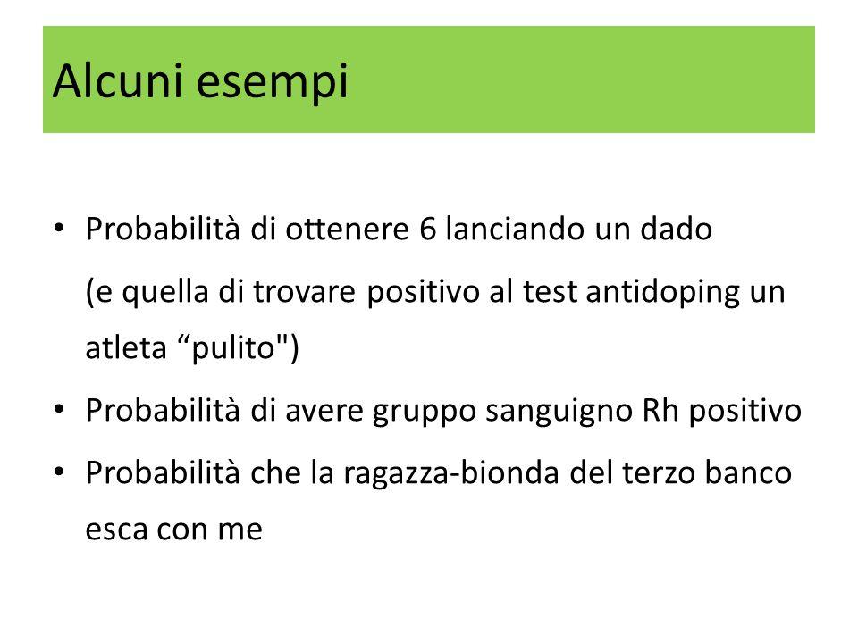 """Probabilità di ottenere 6 lanciando un dado (e quella di trovare positivo al test antidoping un atleta """"pulito"""