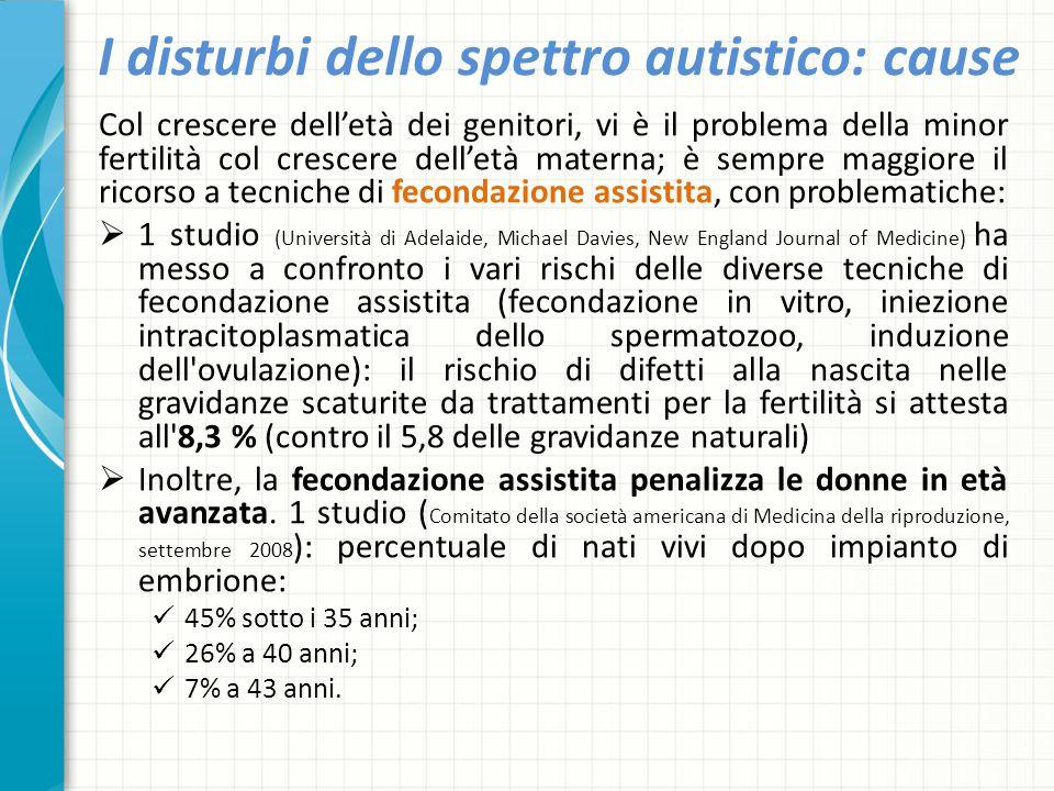 I disturbi dello spettro autistico: cause Col crescere dell'età dei genitori, vi è il problema della minor fertilità col crescere dell'età materna; è