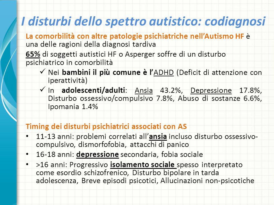 I disturbi dello spettro autistico: codiagnosi La comorbilità con altre patologie psichiatriche nell'Autismo HF è una delle ragioni della diagnosi tar