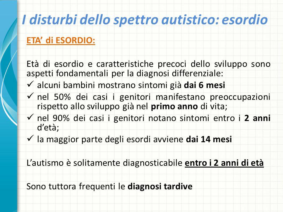 I disturbi dello spettro autistico: esordio ETA' di ESORDIO: Età di esordio e caratteristiche precoci dello sviluppo sono aspetti fondamentali per la
