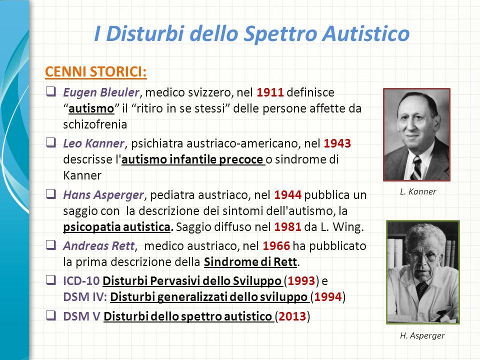 """I Disturbi dello Spettro Autistico CENNI STORICI:  Eugen Bleuler, medico svizzero, nel 1911 definisce """"autismo"""" il """"ritiro in se stessi"""" delle person"""
